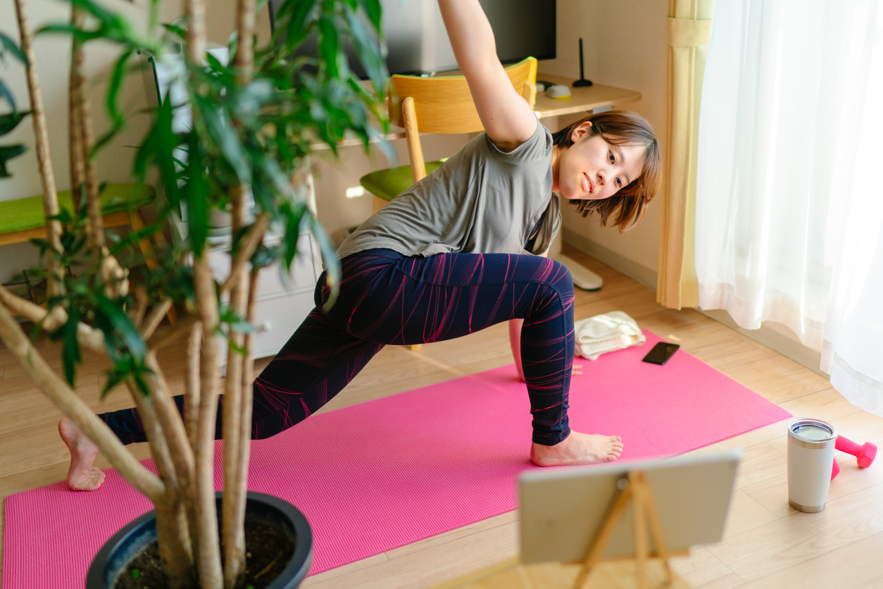 Woman doing physical therapy at home